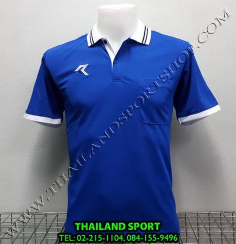 เสื้อโปโลกีฬา POLO เรียล REAL รุ่น RAC-008 (สีน้ำเงิน B) มีกระเป๋า
