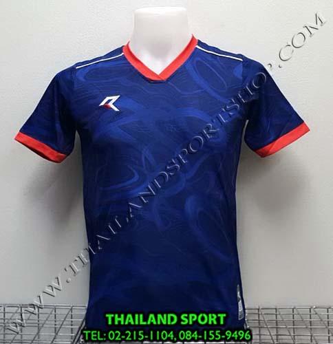 เสื้อกีฬา เรียล REAL รุ่น RAX-008 (สีกรม/แดง) พิมพ์ลาย