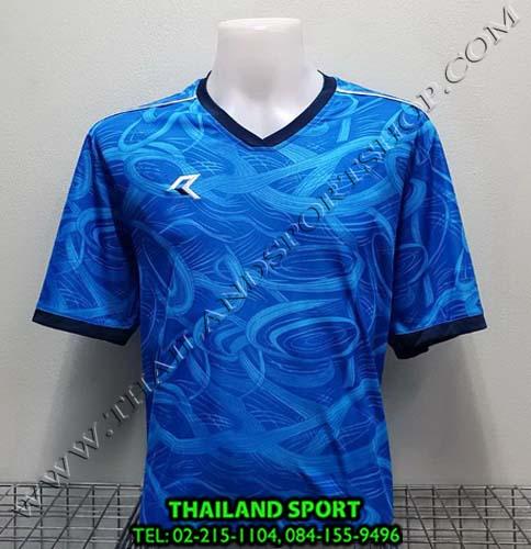 เสื้อกีฬา เรียล REAL รุ่น RAX-008 (สีฟ้า/กรมท่า) พิมพ์ลาย