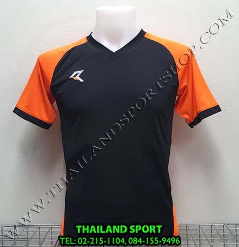เสื้อกีฬา เรียล REAL รุ่น RAX-010 (สีดำ/ส้ม AO) ตัดต่อ