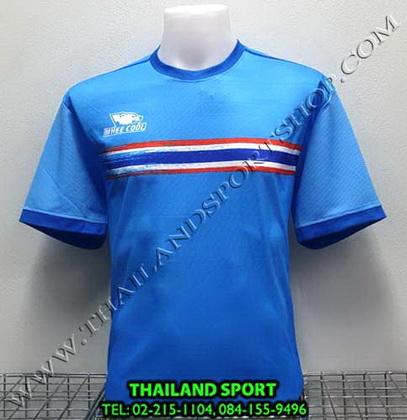 เสื้อกีฬา หมี คูล MHEE COOL รุ่น MO2 คอกลม พิมพ์ลายธงชาติ (สีฟ้า)