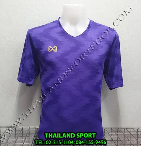 เสื้อกีฬา วอริค warrix รหัส wa-fba572 (สีม่วง vv) ผ้าทอลาย