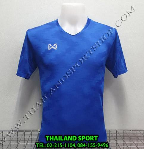 เสื้อกีฬา วอริค warrix รหัส wa-fba572 (สีน้ำเงิน bb) ผ้าทอลาย