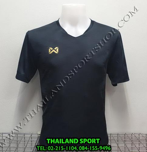 เสื้อกีฬา วอริค warrix รหัส wa-fba572 (สีดำ aa) ผ้าทอลาย