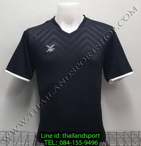 เสื้อกีฬา เอฟ บี ที fbt รุ่น 12-263 (สีดำ) ผ้าทอ อัดลาย