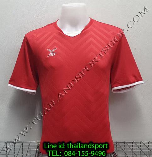 เสื้อกีฬา เอฟ บี ที fbt รุ่น 12-263 (สีแดง) ผ้าทอ อัดลาย