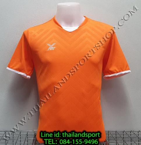 เสื้อกีฬา เอฟ บี ที fbt รุ่น 12-263 (สีส้ม) ผ้าทอ อัดลาย