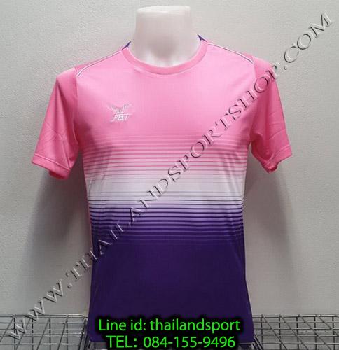 เสื้อกีฬา เอฟ บี ที fbt รุ่น 12-260 (สีชมพู) ผ้าพิมพ์ลาย