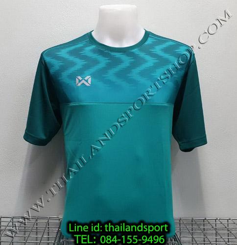 เสื้อกีฬา วอริค warrix รหัส wa-fba573 (สีเขียว gg) พิมพ์ลาย ตัดต่อ