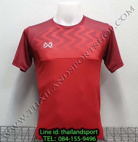 เสื้อกีฬา วอริค warrix รหัส wa-fba573 (สีแดง rr) พิมพ์ลาย ตัดต่อ