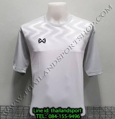 เสื้อกีฬา วอริค warrix รหัส wa-fba573 (สีขาว ww) พิมพ์ลาย ตัดต่อ