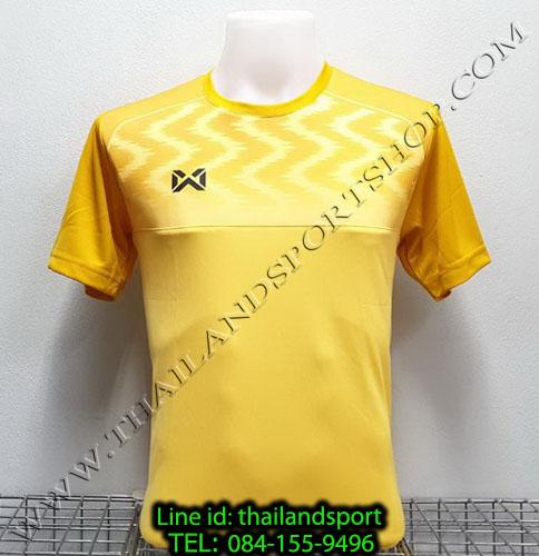 เสื้อกีฬา วอริค warrix รหัส wa-fba573 (สีเหลือง yy) พิมพ์ลาย ตัดต่อ