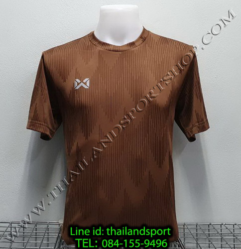 เสื้อกีฬา วอริค warrix รหัส wa-fba574 (สีน้ำตาล tt) ผ้าทอลาย