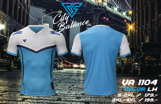 เสื้อกีฬา เวอร์ซูส versus รุ่น va-1104 (สีฟ้า) พิมพ์ลาย