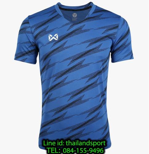 เสื้อกีฬา วอริค warrix รหัส wa-fba575 (สีน้ำเงิน bb) ผ้าทอลาย