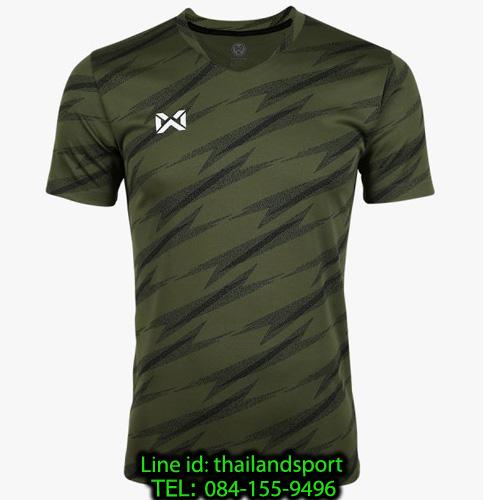เสื้อกีฬา วอริค warrix รหัส wa-fba575 (สีเขียวทหาร g1) ผ้าทอลาย