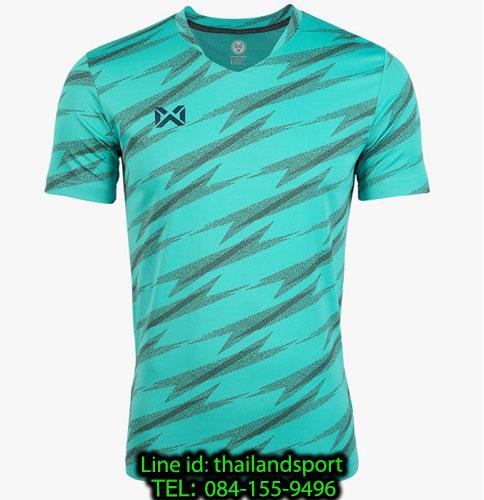 เสื้อกีฬา วอริค warrix รหัส wa-fba575 (สีเขียวมินท์ g5) ผ้าทอลาย