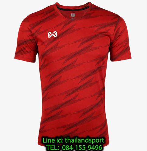 เสื้อกีฬา วอริค warrix รหัส wa-fba575 (สีแดง rr) ผ้าทอลาย