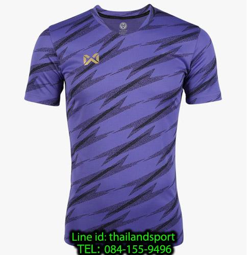 เสื้อกีฬา วอริค warrix รหัส wa-fba575 (สีม่วง vv) ผ้าทอลาย