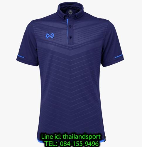 เสื้อโปโลกีฬา polo วอริกซ์ warrix รุ่น wa-3318 (สีกรมท่า-น้ำเงิน db ) ทอลาย