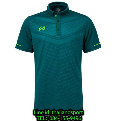 เสื้อโปโลกีฬา polo วอริกซ์ warrix รุ่น wa-3318 (สีฟ้าทะเล-เขียวสะท้อน ig) ทอลาย