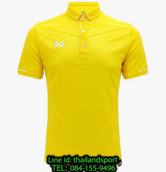 เสื้อโปโลกีฬา polo วอริกซ์ warrix รุ่น wa-3318 (สีเหลือง-ขาว yw) ทอลาย