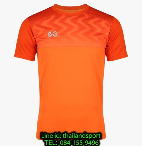 เสื้อกีฬา วอริค warrix รหัส wa-fba573 (สีส้ม oo) พิมพ์ลาย ตัดต่อ