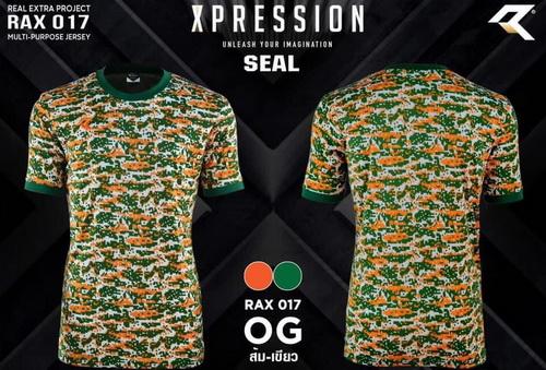 เสื้อกีฬา เรียล real รุ่น rax-017 (สีส้ม-เขียว)