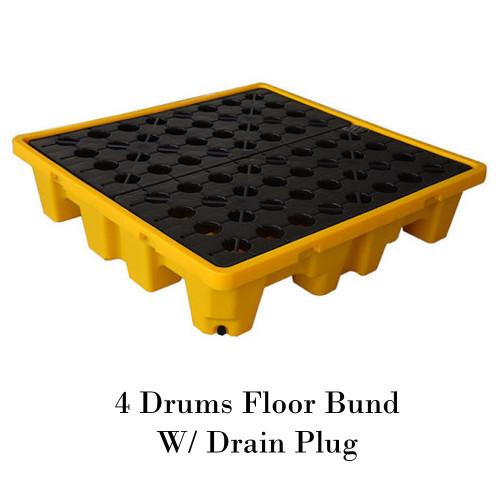 พาเลทรองสารเคมี 4 Drums Floor Bund W/ Drain Plug Model. STRMDTSSBF4D