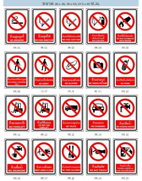 ป้ายเครื่องหมายห้าม (Prohibition Sign)