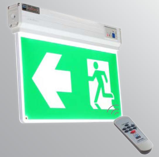 ป้ายทางออก-ทางหนีไฟแบบ Slim Line แขวนลอย 2 หน้า ชนิดหลอด LED รุ่น LX-2SLM-A ยี่ห้อ DYNO