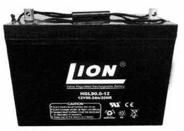 แบตเตอรี่แห้งชนิดตะกั่วกรด ขนาด 12V-90Ah ยี่ห้อ Lion