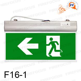 ป้ายไฟฉุกเฉิน ลูกศร/คนวิ่งซ้ายมือ แบบสองหน้าสำรองไฟ 2 ชม ชนิดหลอด LED Slimline รุ่น F16-1 ยี่ห้อ Sup