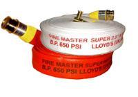 สายส่งน้ำดับเพลิงชนิดผ้าใบโพลีเอสเตอร์เคลือบยางสังเคราะห์ภายใน ยี่ห้อ Fire Master Super