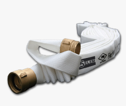 5ELEM สายส่งน้ำดับเพลิงผ้าใบโพลีเอสเตอร์สีขาวเคลือบยางสังเคราะห์ 2.5นิ้วยาว30เมตร+ข้อต่อเกลียว BS336