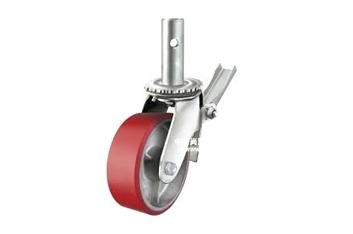 ล้อนั่งร้านโพลียูรีเทนสีแดงใส่แป้นระดับขนาด 8 นิ้ว รับน้ำหนักได้ 500 kg.