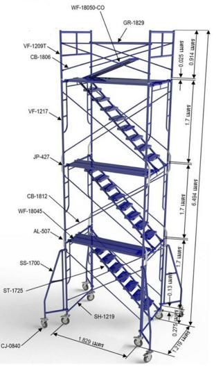 นั่งร้านหอเลื่อนสูง 3 ชั้น สูง 5.1 เมตร มีราวกันตก มีขาค้ำยันเล็ก ขนาด 1.219x1.829x6.469 เมตร