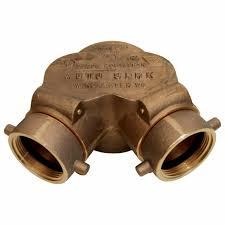 หัวรับน้ำดับเพลิงทองเหลือง 90°  Type ขนาด 4x2.5x2.5 นิ้ว มาตรฐาน UL รุ่น 21-133 ยี่ห้อ DIXON-POWHATA