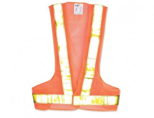 เสื้อจราจรสะท้อนแสง รูปตัววี รุ่น OR-5559V สีส้ม แถบสีเหลือง ยี่ห้อ YAMADA