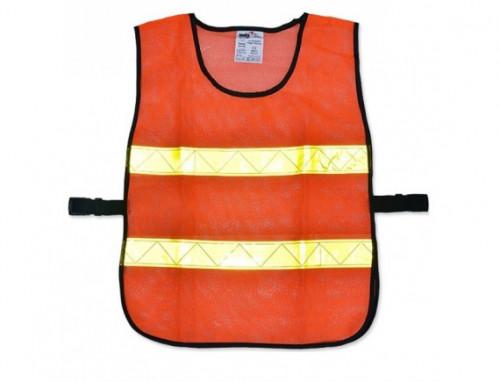 เสื้อจราจรแบบตาข่าย 2 แถบ รุ่น OR-6045U สีส้ม แถบสีเหลือง ยี่ห้อ YAMADA