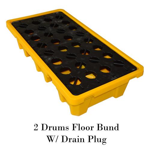 พาเลทรองสารเคมี 2 Drums Floor Bund W/ Drain Plug Model. STRMDTSSBF2D