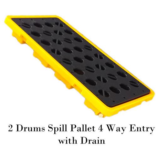 พาเลทรองสารเคมี 2 Drums Spill Pallet 4 Way Entry with Drain Model. STRMDTSSBP2FWD