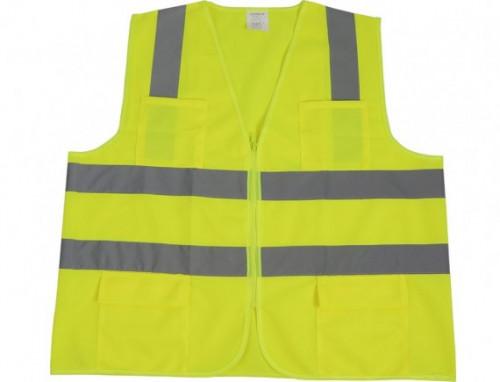 เสื้อจราจรผ้าแฟบริค(มีกระเป๋า) รุ่น GR-6666PK สีเขียว แถบสีเงิน