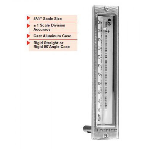 TRERICE Econo Thermometer Aluminium Case ,Scale 5-1/2 Inch. Stem Length 2 Inch.  Straight Type