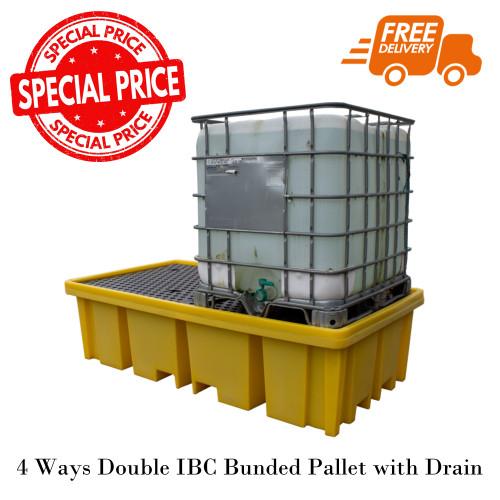 พาเลทรองสารเคมี 4 Ways Double IBC Bunded Pallet with Drain Model. STRMDTSSBB2FWD