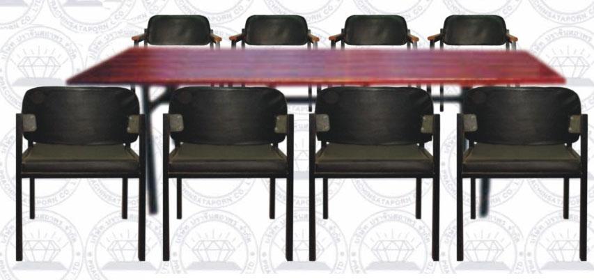 โต๊ะประชุมมาตรฐานขนาด 8 คน พร้อมเก้าอี้