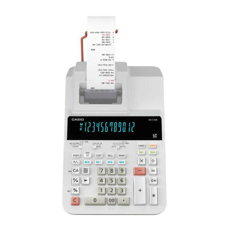 เครื่องคิดเลขแบบพิมพ์ คาสิโอ DR-120R-WE