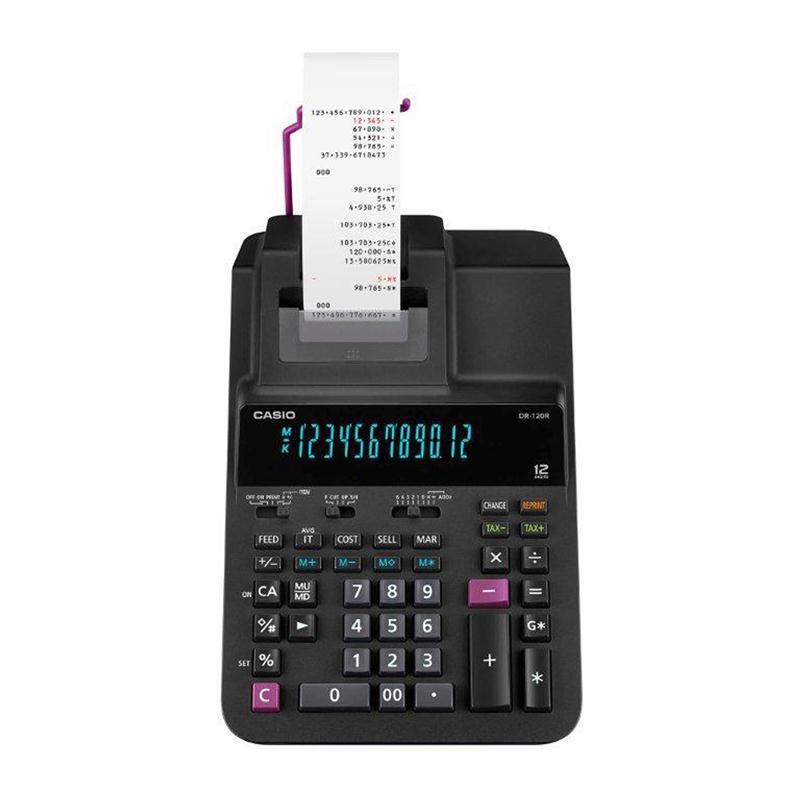 เครื่องคิดเลขแบบพิมพ์ คาสิโอ DR-120R-BK