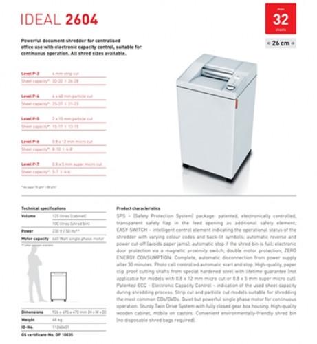 เครื่องทำลายเอกสาร IDEAL 2604 SMC  (0.8X5มม.)