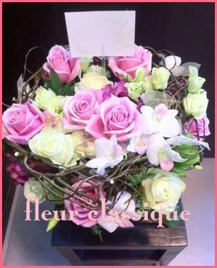 แจกันดอกกุหลาบรังนกสีชมพู(vase rose pink)